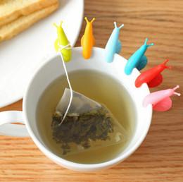 Wholesale Tea Bag Holder Cups - Randome Color!! 1000 PCS Cute Snail Shape Silicone Tea Bag Holder Cup Mug Candy Colors Gift Set GOOD