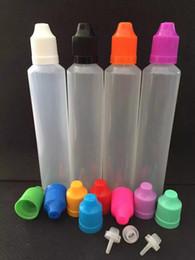 Puntas de botella de unicornio online-Cheap 500 unids 60 ML Botellas cuentagotas Unicornio con tapas a prueba de niños y largas finas consejos para líquido E jugo botellas de plástico vacías Fedex