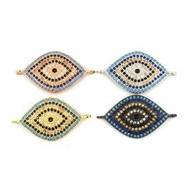 Wholesale Pave Evil Eye - 5pcs  lot Micro Pave CZ Evil Eye Connector Gold Silver Rose Gun Black Plated Pendant for Jewelry Making