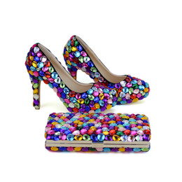 Wholesale Yellow Shoes Matching Bag - 2017 Mix Color Blue Green Yellow Purple Wedding Party Shoes with Clutch 4 Inches High Heel Graduation Prom Pumps Matching Bag