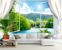 Wholesale windows mouldings - Custom Wall Mural Wallpaper 3D Stereoscopic Window Landscape Background Wall Murals Wallpaper For Living Room Papel De Parede 3D