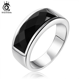 Wholesale Agate Black Rings - Orsa Jewelry New Arrival,Wholesale Titanium Ring,Black Agate Wholesale Ring For Girl Stainless Steel Ring OTR05