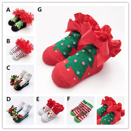 Wholesale Lace Ribbon Decorations - Baby ins hot Christmas Socks Ribbon Lace decoration baby socks Snowman Deer Christmas Tree Santa Xma socks for goy girl gifts 0-1T