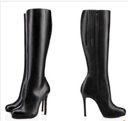 Wholesale Red Black High Heeled Boots - 85mm   100mm   120mm Thin Heels Boots Fifi Botta red bottom boots platform pumps black leather woman knee-high boot Winter ladies long boots