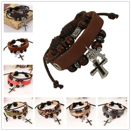 Wholesale Wooden Bead Bracelet Cross - Unisex Leather Bracelets Jewelry Cross Charms Mixed 8 Colors Multilayer Wrist Band Fasion Personality Bangles Bracelet with Wooden Beads
