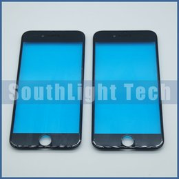 Wholesale Iphone New Bezel - Wholesale Original New Material Outer Glass Lens with Bezel For Iphone 6 6 Plus Black White Front Glass Lens With Middle Frame Pre-Assembled