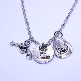 Wholesale 14k Gold Letters Wholesale - 2016 Best Selling Movie Jewelry Gun Hat Letters Keep Calm And Kill Zombies Pendant Necklace The Walking Dead Necklace Wholesale