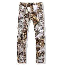 Wholesale Male Night - 2016 New Mens Snakeskin Printed Jeans Slim Fit Skinny Night Club DJ Trousers Pants Slacks For Male Plus Size