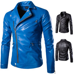Wholesale Mens Leather Biker Jacket Xl - 2016 New Autumn Winter Mens Leather Coat Motorcycle Bikers Jacket Large Size Male PU Leather Clothes M-5XL Blue Black