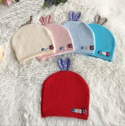 Wholesale Toddler Hat Newborn Wool - 5 Color Autumn Winter Toddler Infant Knitted Baby crochet Hats Adorable Rabbit Ear Hat Baby Bunny Beanie Caps Photo Props