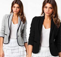 Wholesale Down Coat Black For Women - hot sale Blazer Women Fashion Women's Spring Slim Short Design Turn-down Collar Blazer Grey Short Coat Jackets for women
