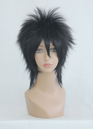 Wholesale Wig Black Cosplay Men - Free Shipping Heat Resistant >>Cosplay Hijikata Toushirou Anime Short Black Men Lolita Synthetic Hair Party Wig