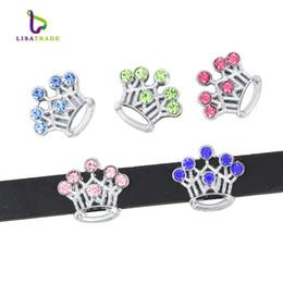 Wholesale Rhinestone Belt Cross - 10PCS! 8MM Mix Color Rhinestone Slide Charms Fit for 8mm Wristband bracelet  Belt  Pet collar (5 styles can choose) LSSC13-17*10