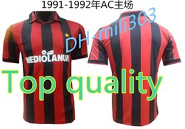 Wholesale Milan Retro - Top quality 1991-1992 AC Milan retro soccer jerseys home red customzied name number AC Milan soccer uniforms football shirts free shippng