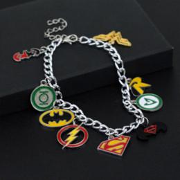 Wholesale Batman Charms - DC COMICS CHARM BRACELET BATMAN SUPERMAN WONDER WOMAN FLASH GREEN LANTERN ROBIN Bracelets Cheap lantern ballon