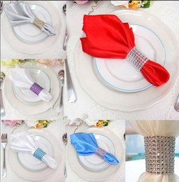 Wholesale Napkin Wraps Wedding - 8 colors Napkin Ring Rhinestone Mesh Wrap Wedding Banquet Dinner Decor Bow Covers Plastic Ring Napkin buckles KKA2302