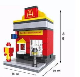 Wholesale Wholesale Music Store - Hot sale City Series Mini Street Model Store Shop with Apple Store McDonald`s Building Block Toys Compatible with Hsanhe