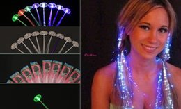 Wholesale Decorations For Hair Wedding - High quality led flower LED Hair Braid Light-Up Flashing Fiber Optic Barrette Hair Assorted for halloween Party Christmas wedding decoration