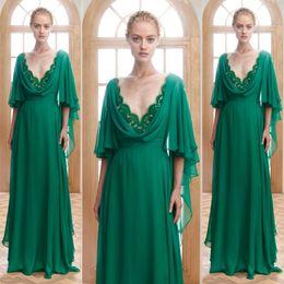 Wholesale Long Purple Chiffon Dressess - Emerald Green Evening Dress Illusion Neck Edge Deep V Neck Long Formal Dresses Evening Wear Dressess Butterfly Sleeves Chiffon Prom Gowns