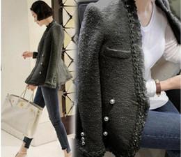 Wholesale Long Jacket Suits Women - women classic V-neck suit top quality noble Famous fashion luxury brand velvet wool pearl tassel jacket