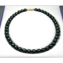 "Wholesale Natural Tahitian Pearls 14k - NEW HOT Exquisite 9-10 mm black Tahitian AAA++ natural Pearl Necklace 18"" 14k"