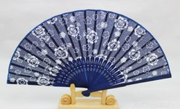 Wholesale Blue Fan Flower - New Classical flower design Chinese style blue fabric hand fan with dyed blue bamboo frame Wedding Party Favor