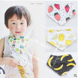 Wholesale Terry Towelling Wholesale - Ins Baby Bandana Bibs Baby Infant Fruit Burp Cloth Cotton Terry Bandana Bibs Saliva Towel Triangle Head Scarf Long Absorbent Adjustable Bib