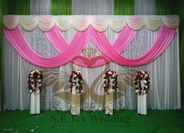 Wholesale Ivory Wedding Backdrops - Good Looking Ivory Color Wedding Backdrop Curtain With Pink Color Swag Drape And Silver Sequin Fabric