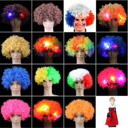 Wholesale Colorful Wigs Wholesale - Colorful Clown Cosplay Wavy LED Light Up Flashing Hair Wig Funny Fans Circus Halloween Carnival Glow Party Supplies CCA7533 50pcs