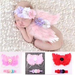 Wholesale Photos Wings - 3 Color Baby Angel Wing + Chiffon flower headband Photography Props Set newborn Pretty Angel Fairy Pink feathers Costume Photo headband Prop