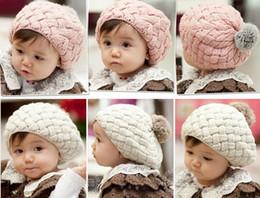 Wholesale Knit Skull Cap Girls - Baby Pom Knit hats Girls Boys Beanie Winter Toddler Kids Faux Warm Knitted Caps Knitting Cap 5months-5years Children's Chrismas Hat-J1064