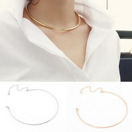 Wholesale Silver Hoop Choker - Sexy Fashion Ladies Womens Jewelry Charms Gold Silver Tone Circle Hoop Choker Collar Necklace For Party Cocktail Everyday