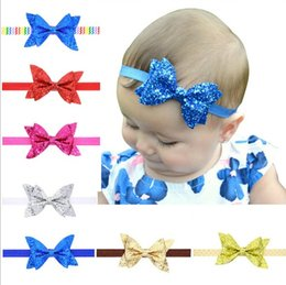 Wholesale Glitter Hair Ties - Headbands For Girls Pearl Baby Girls elastic hair bow ties Baby Golden leaves Parenting Sequins Accessproes Sparkle Glitter Christmas