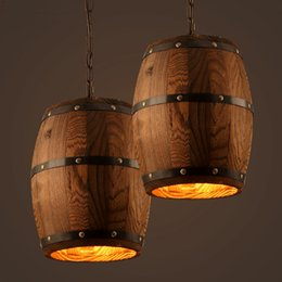 Wholesale Wood Ceiling Lighting Fixtures - American country loft wood Wine barrel hanging Fixture ceiling pendant lamp E27 light for bar cafe living dining room restaurant