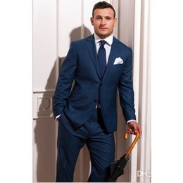 Wholesale Tuxedos Made Measure - Wholesale- Custom Made To Measure Blue Groom Wedding Suits For Men Bespoke Men Suit Tailored Tuxedos For Men Blue Slim Fit (Jacket+Pants)