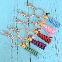 Wholesale Metal Dragon Car - Fashion Mermaid Fish   Dragon Scale Keychain & Keyring Leather Tassel Scales Keyrings Newest Car Accessories Jewelry Gift