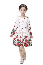 Wholesale Elegant Butterfly Sleeves - 6 styles Girls Butterfly Floral Print Dress New Style Slim Casual Dress Big Children Girls Party Long sleeve Elegant Vintage Dress C1240