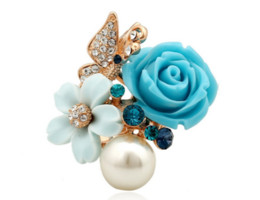 Wholesale Open Style Rings - popular fashion flower style brand nice style white pearl opening adjustable rose gold finger cluster ring for women blue pink and purple