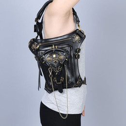 Wholesale Womens Gothic - Gothic Womens Skeleton Shoulder Bags Steampunk Style Crossbody Bags Best Quality Vintage Leather Waist Bags Online B1