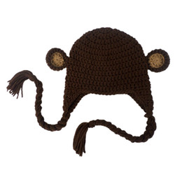 Wholesale Monkey Newborn - Novelty Handmade Knit Crochet Baby Boy Girl Monkey Hat,Newborn Animal Earflap Hat,Kids Halloween Costume,Infant Toddler Photo Prop