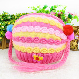Wholesale Knitted Hats Pigtails - Candy-colored velvet hat pigtail dumplings full liner infants and young children in autumn and winter explosion models wool cap knitted hat