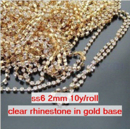 Wholesale Ss6 Rhinestone Cup Chain - ss6 2mm Single-row Metal A grade clear Crystal Rhinestone Diamante Cup Chain one roll 10 yards lot