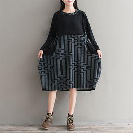 Wholesale Maxi Black Stripe Dress - 2017 Autumn Vintage dress for women O neck A-line Long sleeve Stripe Maxi dress Black colors