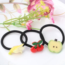 Wholesale Hair Slices - Wholesale- 1 PC New Style Fruits Women Elastic Hair Bands Rubber Bands Headwear Hair Accessories Scrunchy Slice Multi-Patterns Ponytail