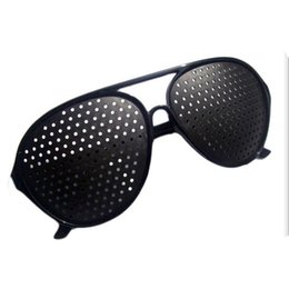 Wholesale Eyeglasses Holes - Black Unisex Vision Care Pin hole Eyeglasses pinhole Glasses Eye Exercise Eyesight Improve plastic Retail & Wholesale 0612003