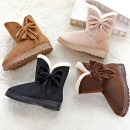 Wholesale Wholesale Nude Heels - Classic Tall Winter Women Boots Cotton Cloth Bowknot Snow Boots Flat Wear Resistant Non-slip Warm Boot