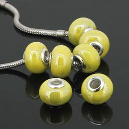Wholesale Yellow Ceramic Beads - Wholesales 50pcs Lot Yellow Ceramic Rondelle Spacer Big Hole Charms Beads For Making European Bracelet, Porcelain Diy Beads