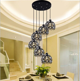 Wholesale Black Iron Chandeliers - LED Crystal Pendant Lamp K9 Crystal Creative restaurant wrought iron chandelier 1~ 6 head LED E27 base corridor crystalline Pendant Light