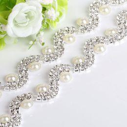 kristallklare rhinestone applikation Rabatt NEUE 1 Yard Klar Kristall Perle Strass Cup Kette Braut Hochzeit Kleid Dekoration Trim Applique Nähen auf Bekleidungszubehör