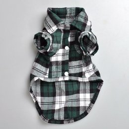 Wholesale Bandanas Wholesale Extra Large - Plaid shirt Style Pet Cloth Cute Pet Spring and Summer Clothes Dog Apparel Multiple Colors and Sizes dhl